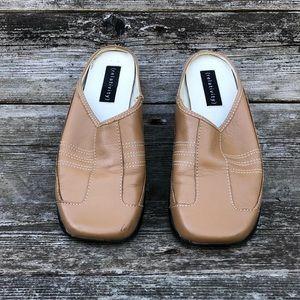 Relativity Leather Carmel Color Mules Slip On Shoe